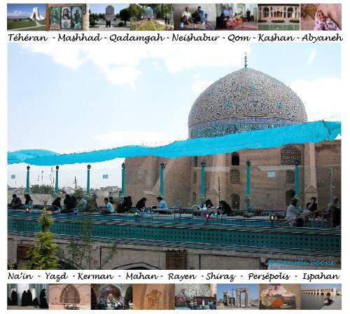Ispahan, terrasse d'un restaurant. Au second plan, la splendide coupole de la mosquée de Sheikh Lotfollah