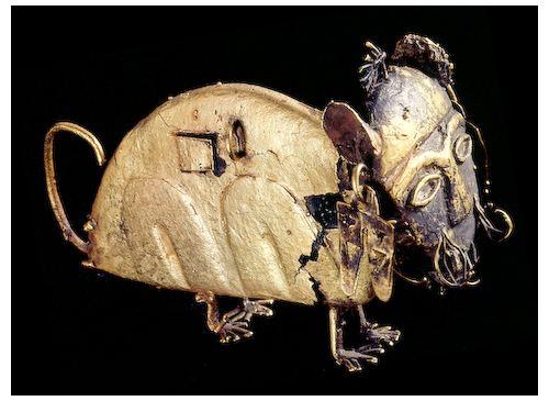 Figurine votive en forme de félin et au visage humain, Muisca, Colombie © Museo del Oro, Bogota
