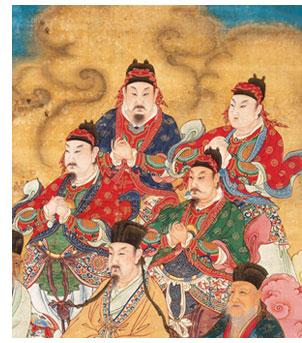 Dieux des murs et des fossés de toutes les commanderies et dieux  du sol de tous les districts (détail), Ming, vers 1600 © Rmn, musée des  arts asiatiques Guimet, Paris / Thierry Ollivier