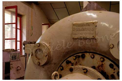 Une des trois turbines de l'usine hydraulique © Danièle Boone