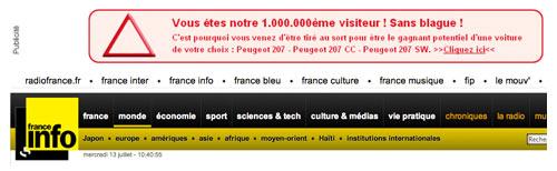 La page du site France Info ce 13 juillet 2011