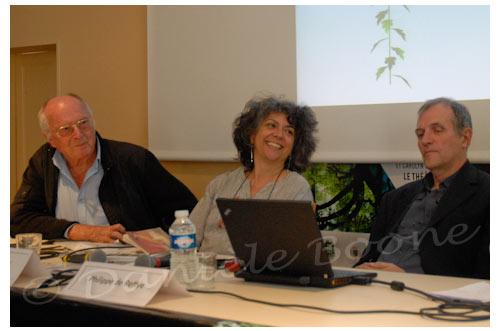 Ruth Stegassy est entourée par Francis Hallé et Philippe de Reffye © Danièle Boone